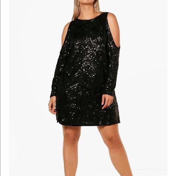 NWT Open Shoulder Pattern Sequin Dress 9fae7a5d4